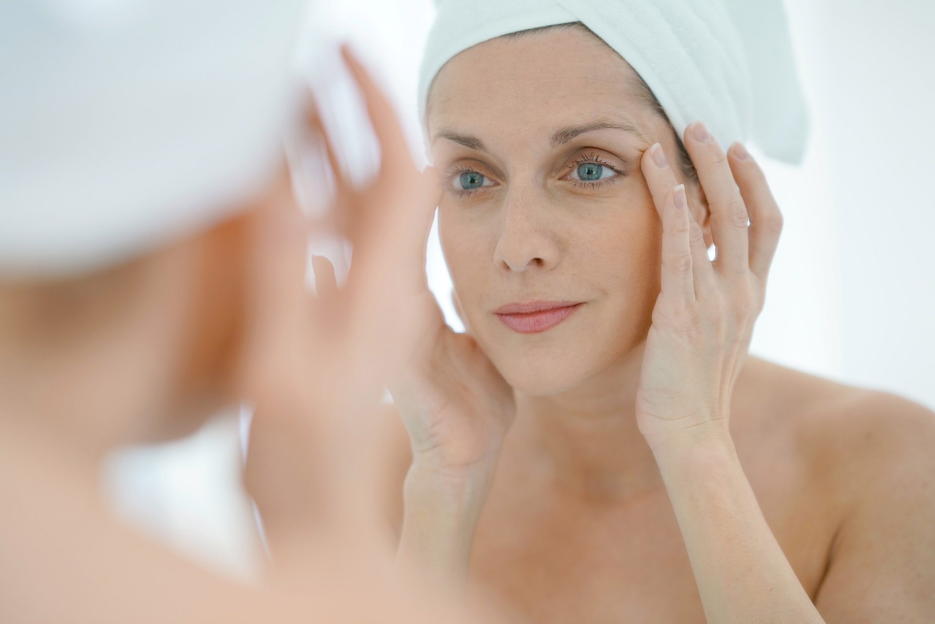 Woman looking at parabens effect on skin